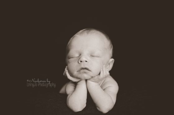 Black and white Newborn chin pose