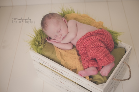 Newborn boy orange crochet pants
